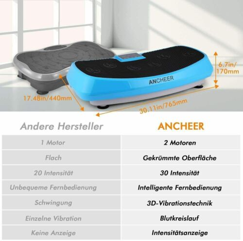 Profi Vibrationsplatte Fitness Fläche Ganzkörper Trainingsgerät Rutschfest 250W