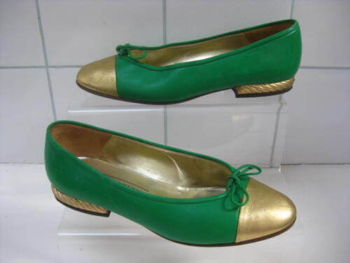 5 Green 2 Ladies Size 35 5 Gold Pumps Geiger Court scarpe Kurt Uk Rrp£100 Vintage x7PIPq