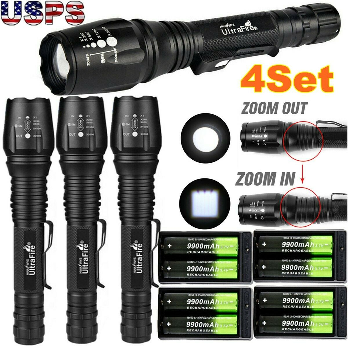 90000LM T6 LED Zoom Rechargeable High Power Torch Flashlight Lamp Light+Charger△