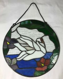 Ebay Stained Glass Panels.Details About Artisan Stained Glass Round Window Panel Swan Swimming 10 Chain Hanger