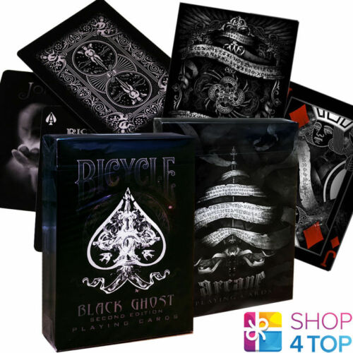 2 DECKS BICYCLE ELLUSIONIST 1 GHOST BLACK AND 1 ARCANE BLACK PLAYING CARDS NEW