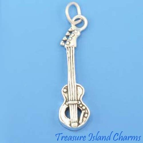 Bass Guitar Music Instrument .925 Sterling Silver Charm MADE IN USA