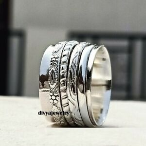 Solid-925-Sterling-Silver-Spinner-Ring-Meditation-Ring-Statement-Ring-Size-R0125