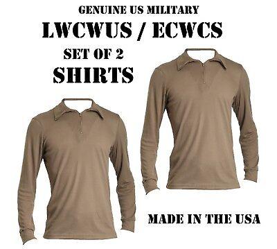 LOT of 2 US MILITARY POLYPRO THERMAL UNDERWEAR LWCWUS ECWCS SILKWEIGHT M SHIRT