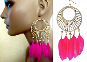 TOPSHOP LARGE BEAD & PINK FEATHER CHANDELIER EARRINGS NEW