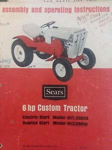 Details about Sears Custom 6 Lawn Garden Tractor &36 Mower Owner & Parts (2  Manuals) 917 25020
