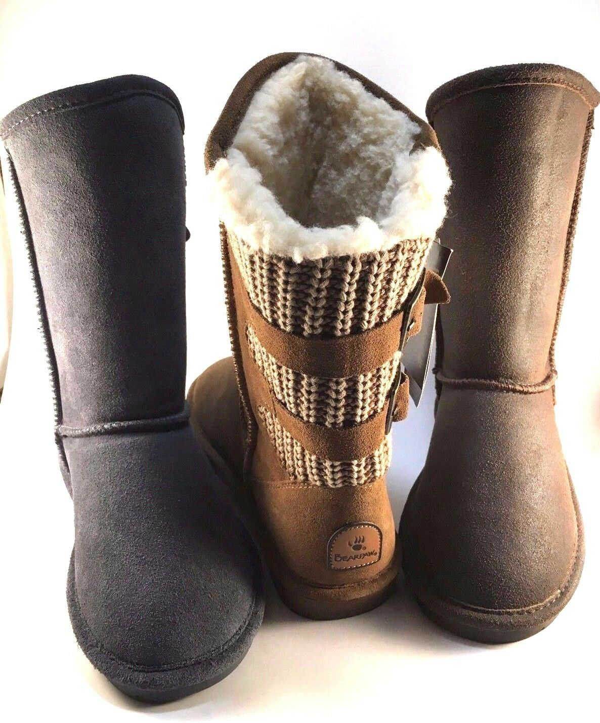 BearPaw Boshie Knit Back Suede Sheepskin Wool Winter Ankle Boots Choose Sz color