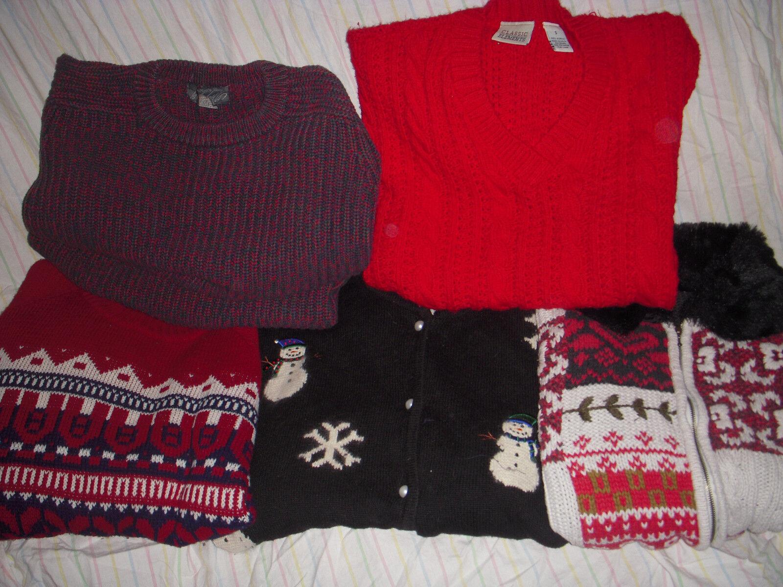 Lot of 5 VTG Christmas Holiday Sweater Cardigan Fair Isle Patchwork Snowman Ski