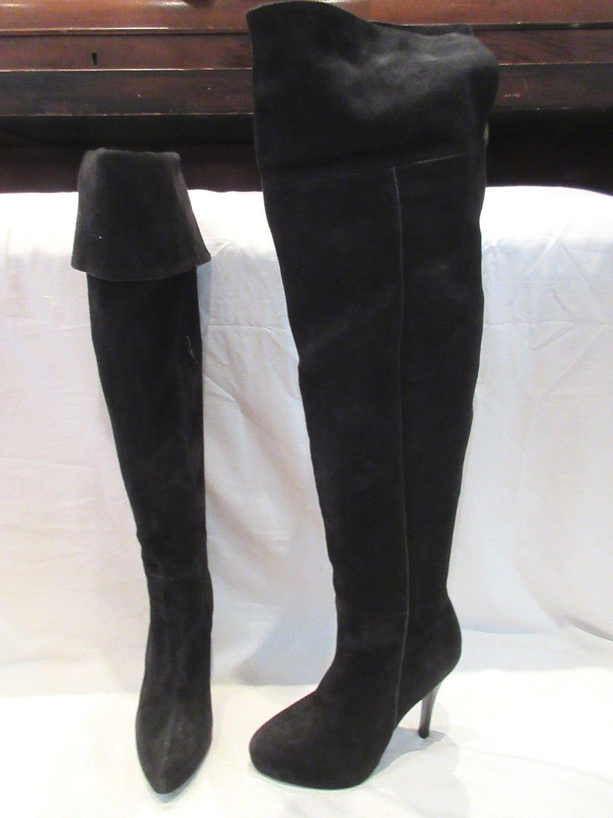 MODA IN PELLE BLACK SUEDE OVER KNEE PULL ON HIGH HEEL Stiefel UK 5 EU 38 (1663)
