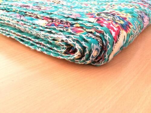 Ethnic Bedspread Ralli King SIze Vintage Kantha Quilt Indian Handmade Blanket SZ
