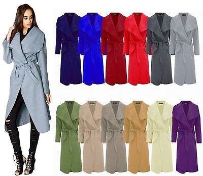 Initiative Womens Italian Long Duster Jacket Ladies French Belted Trench Waterfall Coat