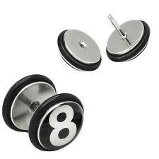 Ein Fakeplug eightball Fake Plugs Billard 8 acht Ohrstecker Piercing
