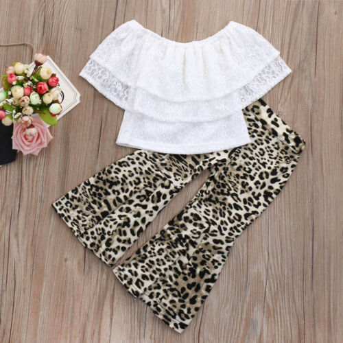 Toddler Baby Girls Lace Solid Off Shoulder Tops+Leopard Print Pants Set Outfits