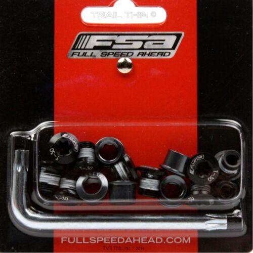 Double Chainring Nuts Bolts Kit 15-Piece Set FSA Torx T-30 Alloy Black Triple