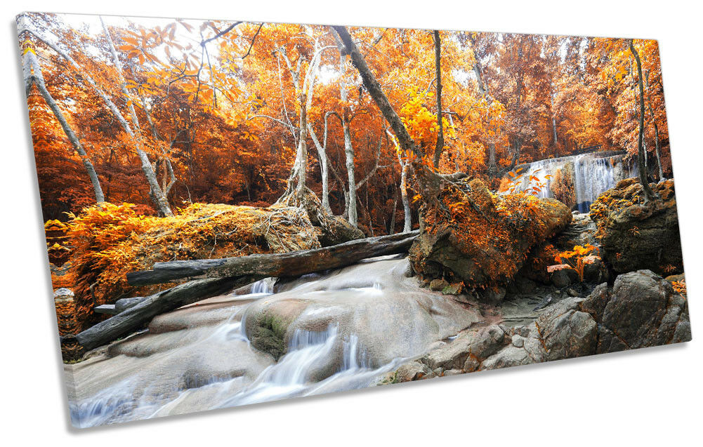 River Landscape Orange Forest Picture PANORAMIC CANVAS WALL ART Print