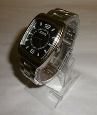Mens Kenneth Cole Reaction Silver Tone Square Face Watch New Battery