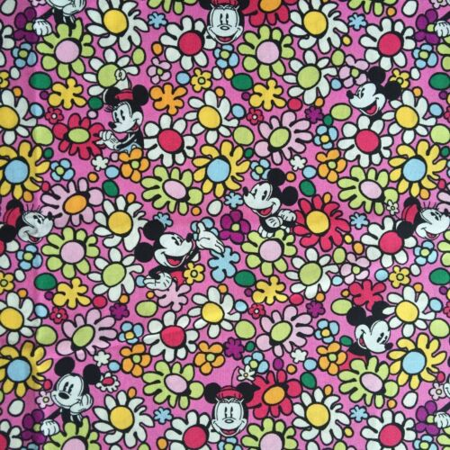 VB 100/% Cotton Fabric per 1//2 metre 145cm wide/_Mickey Minnie Floral Pink M14