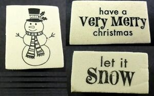 Christmas-Themed-Lot-of-3-Foam-Mounted-Rubber-Stamps-Snowman-Let-It-Snow-amp-More