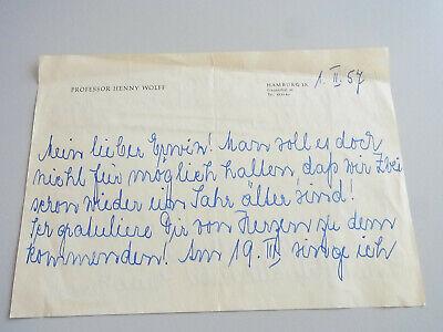 Nachdenklich Sängerin Henny Wolff (1896-1965): Glückwunsch-brief Hamburg 1957 An Erwin Kroll