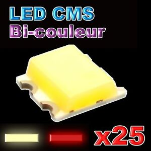 198-25-25pcs-LED-CMS-bicouleur-rouge-blanc-chaud-0605-warm-white-red-smd