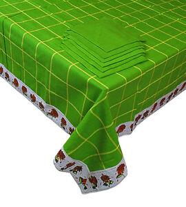 Tovaglia-Copritavola-per-12-piu-039-12-tovaglioli-cotone-copri-tavolo-verde