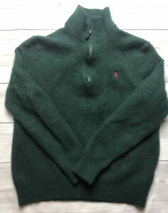 Polo Ralph Lauren 1/4 Zip Wool Sweater Youth Size Large - Forest Green -