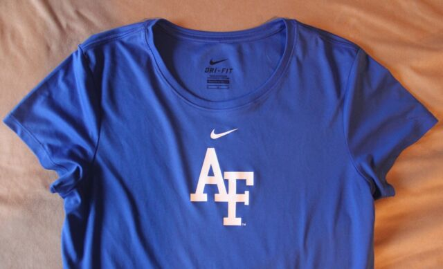 NIKE Dri Fit ROYAL BLUE Short Sleeve AIR FORCE Shirt Sz. Medium Nice!