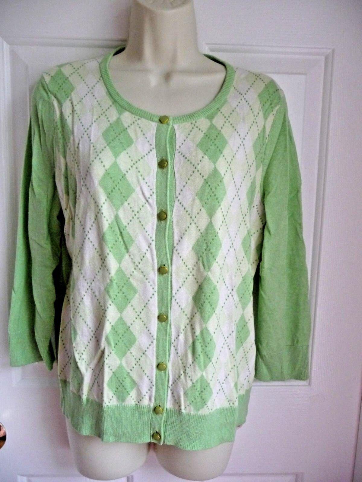 Talbots M NWT  Sweater Button Down Cardigan Green Argyle Front Cotton Silk
