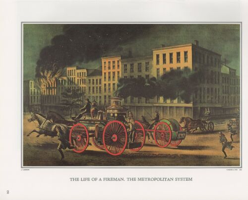"""Color Print Lithograph 1972 Vintage Currier /& Ives /""""LIFE OF A FIREMAN/"""" FDNY WOW"""