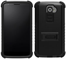 BLACK TRI-SHIELD SOFT SKIN HARD CASE STAND SCREEN PROTECTOR FOR LG G2 PHONE