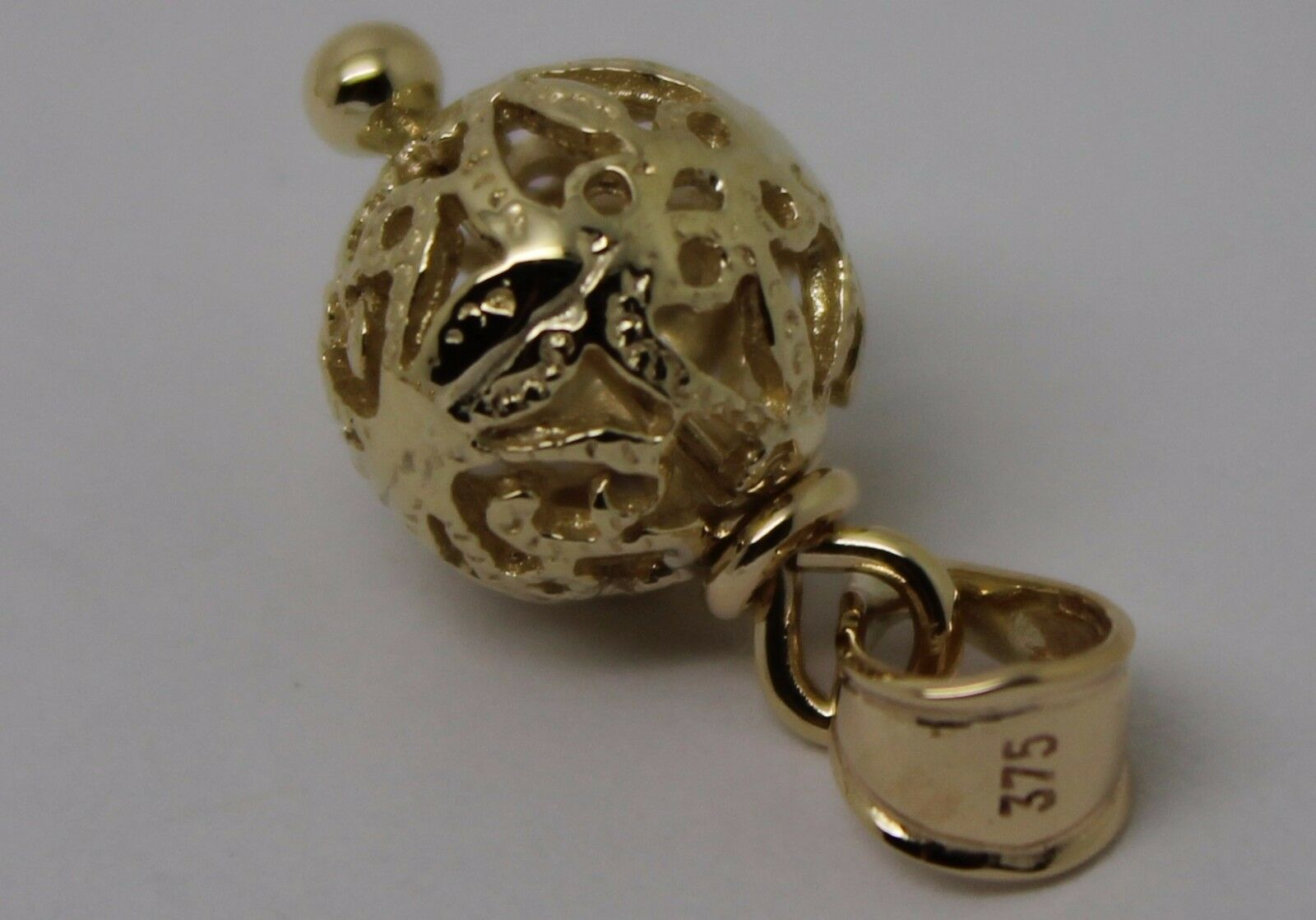NEW 9CT 9k YELLOW gold 10mm  FILIGREE BALL PENDANT  FREE EXPRESS POST IN OZ