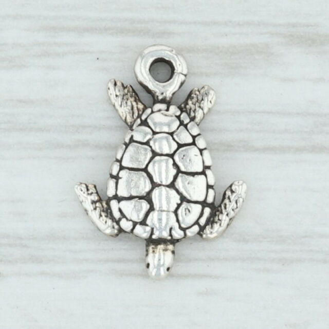 Little Sea Turtle Charm - Sterling Silver 925 Nautical Beach