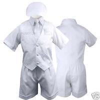 White Baby,toddler & Boy Christening Baptism Vest Shorts Suit S M L Xl 2t 3t 4t