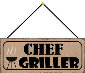 Chief Griller Tin Sign Shield with Cord Arched 10 X 27 CM K0713-K
