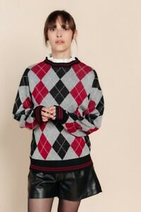 Red-Argyle-Sweater-with-Removeable-Collar-Preppy-Jumper-BNWT-Oversized-Y2K-80s