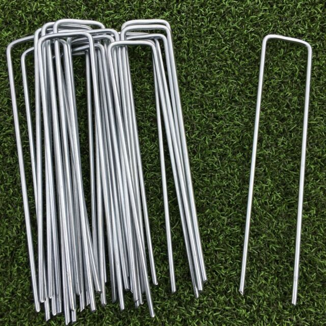 50 PACK METAL GROUND GARDEN MEMBRANE PINS FABRIC HOOKS PEGS STAPLES U PINS