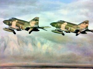 DAVID LAWRENCE Large Original Framed Painting of Two F4 Phantom Jet Planes