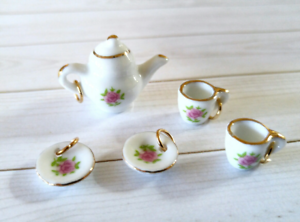 5 Miniature Tea Set Charms Vintage Style Ceramic Pendants with Jump Rings *