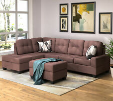 Brown Chenille Fabric Sectional Sofa