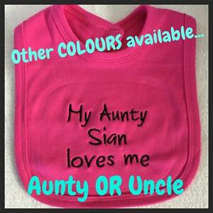 Personalised baby bib my auntyuncle name loves me birthday image is loading personalised baby bib 039 my aunty uncle name negle Gallery