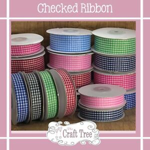 Gingham Check Ribbon -15mm 25mm & 40mm - Various Colours & lengths