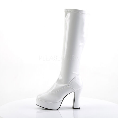 White Platform 1960s 70s Hippie Knee High Mens Drag Queen Halloween GoGo Boots