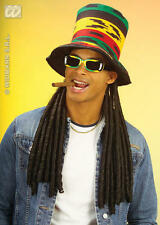 Rasta Top Hat With Long Black Dreadlocks Bob Marley Reggae Party Fancy Dress