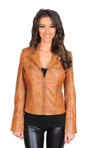 brune pour cuir Veste femmes claire en motard OqazwfB