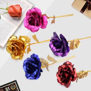 Goldene Gold Rose 24K Blume vergoldet Valentinstag Geburtstag Geschenk 5 Farben