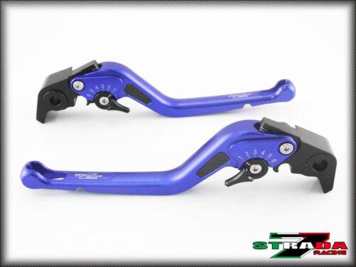 BMW F800R 2009-2016 Strada 7 Adjustable Long Carbon Fiber Inlay Levers Blue