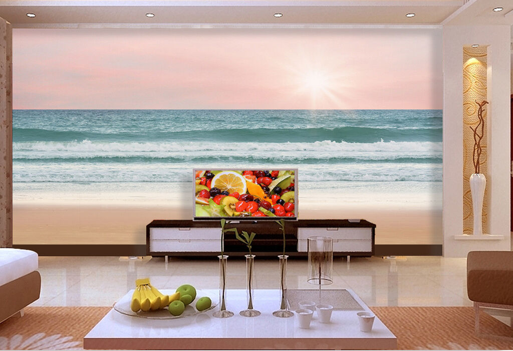3D sunlight Waves Beach Wall Paper Print Decal Wall Deco Indoor wall Mural