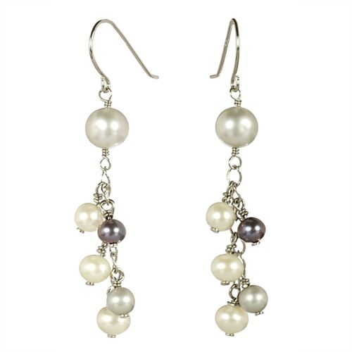 """Cultured Freshwater Pearl Mini Cluster Boucle d/'oreille avec Sterling Silver Hook 2/"""""""