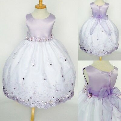 Lilac Floral Embroidery Flower Girl Dress Graduation Wedding 2 4 6 8 10 12 14
