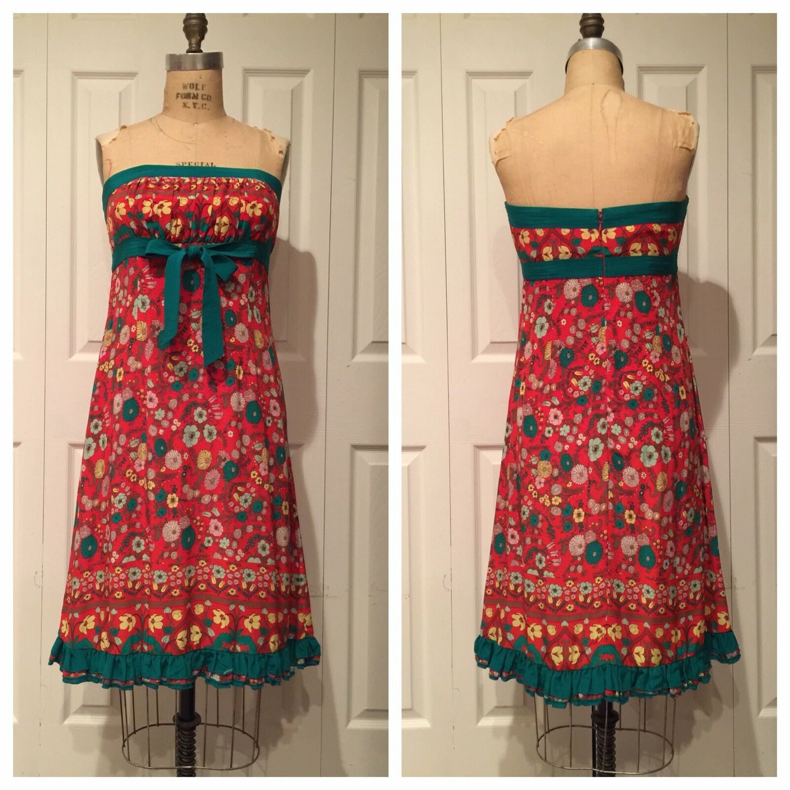 Vintage anthropologie pretty tracy reese Strapless floral dress Sz 6